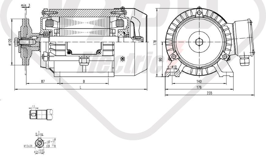 rozměrový výkres pilový elektromotor KRM 90LX-2
