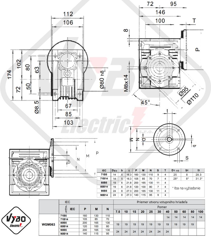 rozměry šneková převodovka WGM063