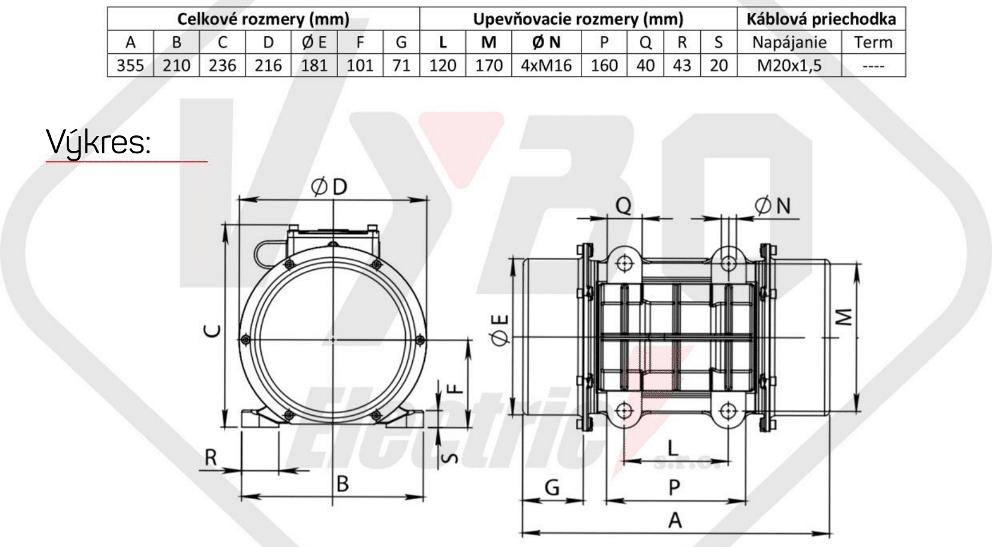 rozměrový výkres vibrační elektromotor 0,72kw BM1100/3-V