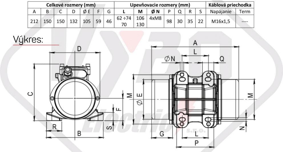 rozměrový výkres vibrační elektromotor 0,18kw BM130/3