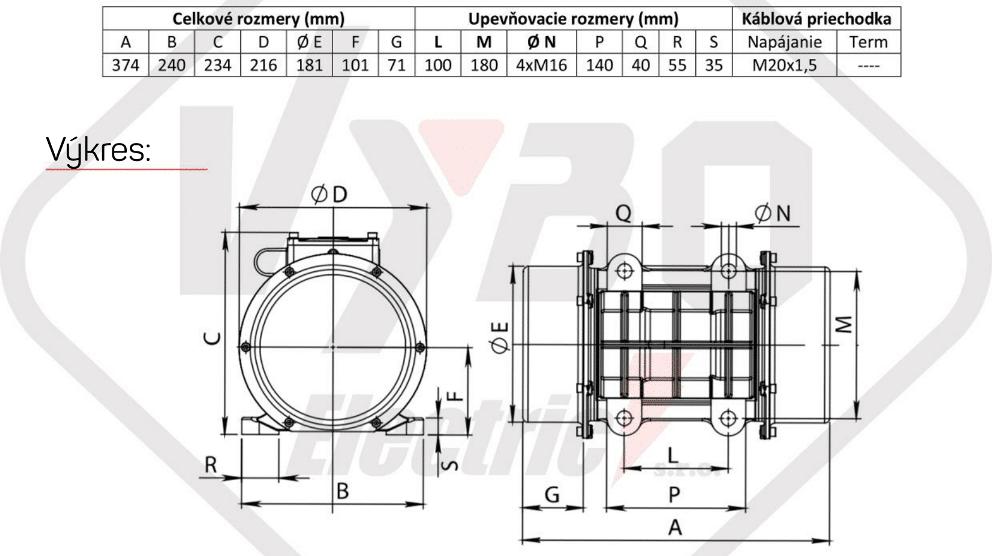 rozměrový výkres vibrační elektromotor 1,3kw BM1400/3