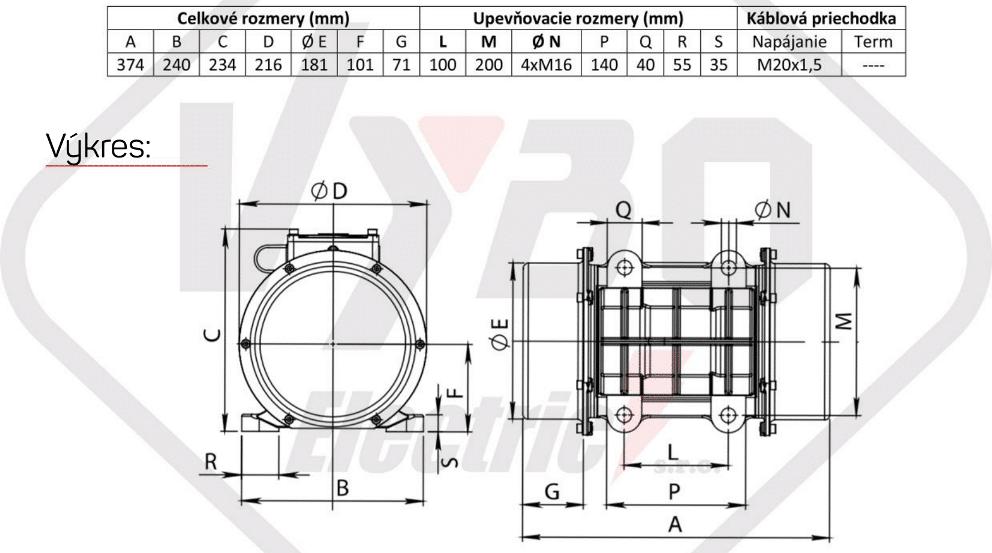 rozměrový výkres vibrační elektromotor 1,3kw BM1400/3-U