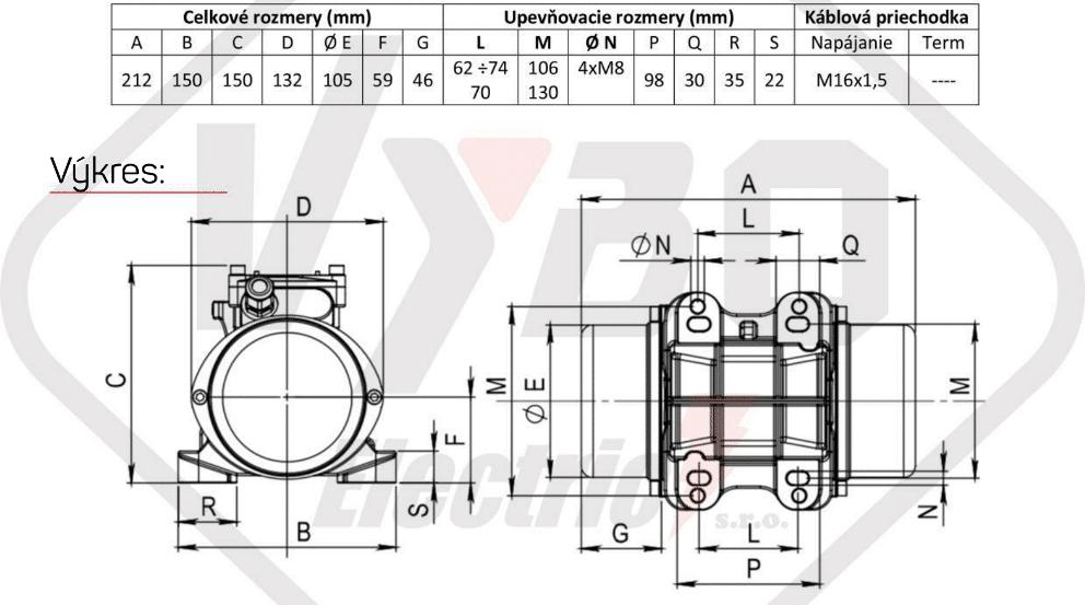 rozměrový výkres vibrační elektromotor 0,18kw BM200/3
