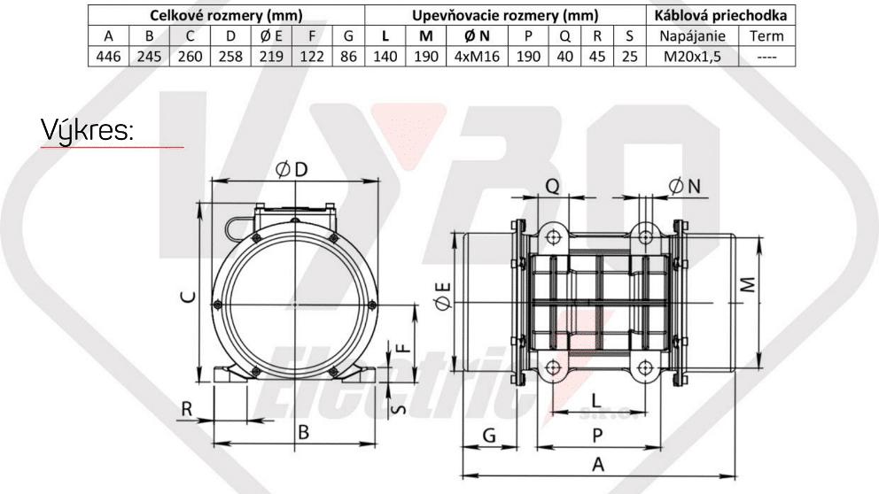 rozměrový výkres vibrační elektromotor 2kw BM2000/3