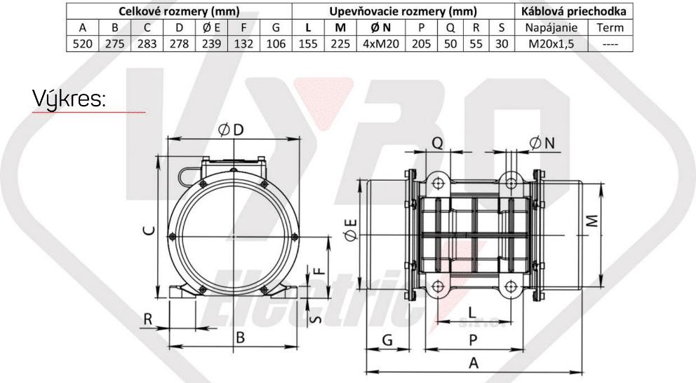 rozměrový výkres vibrační elektromotor 2,3kw BM2500/3