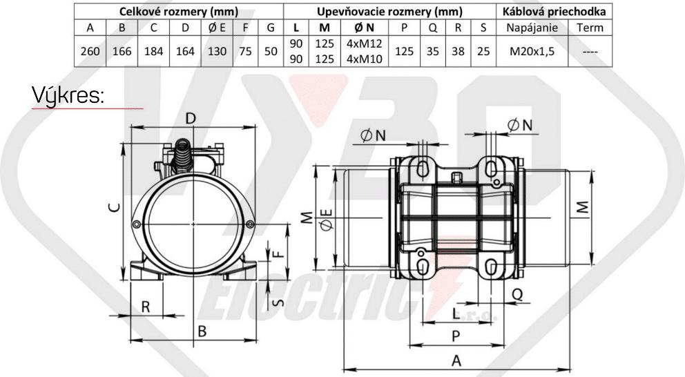 rozměrový výkres vibrační elektromotor 0,27kw BM300/3