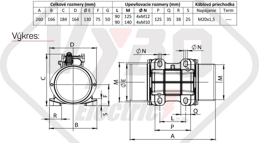 rozměrový výkres vibrační elektromotor 0,35kw BM450/3