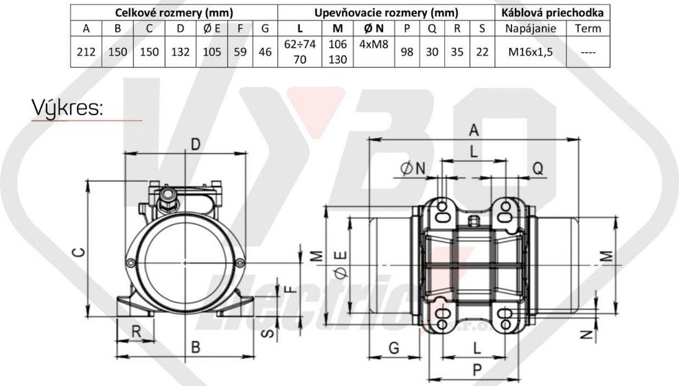 rozměrový výkres vibrační elektromotor 0,15kw BM65/3