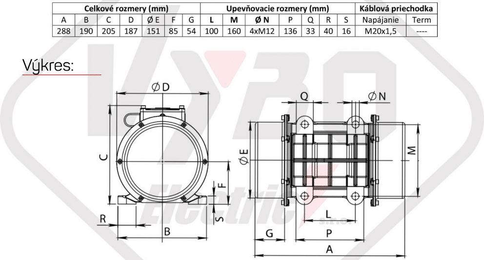rozměrový výkres vibrační elektromotor 0,5kw BM650/3