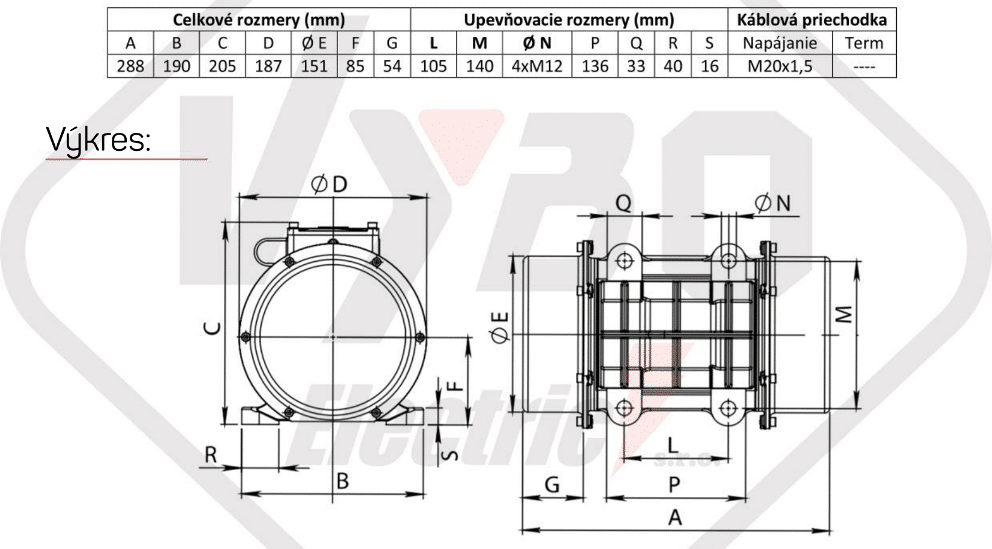 rozměrový výkres vibrační elektromotor 0,5kw BM650/3-V