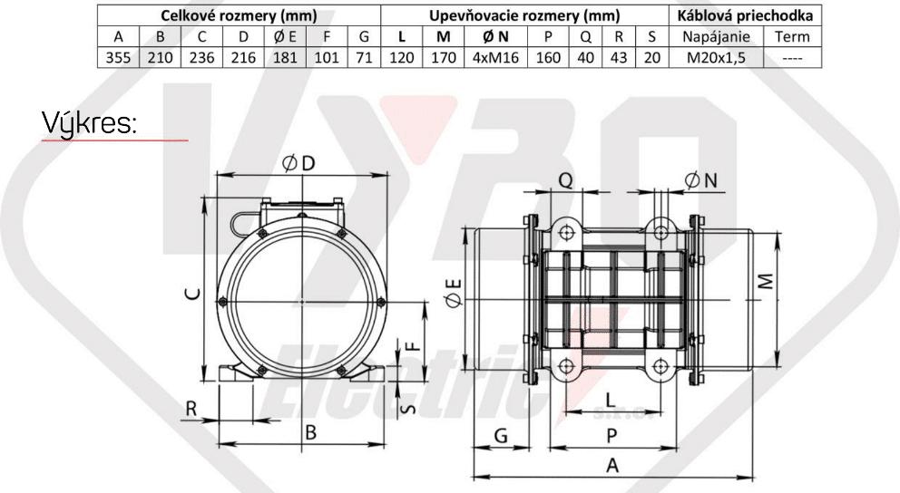 rozměrový výkres vibrační elektromotor 0,6kw BM850/3-V