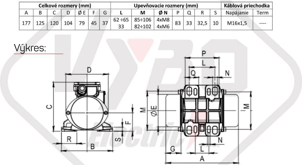 rozměrový výkres vibrační elektromotor 0,10kw BM95/3
