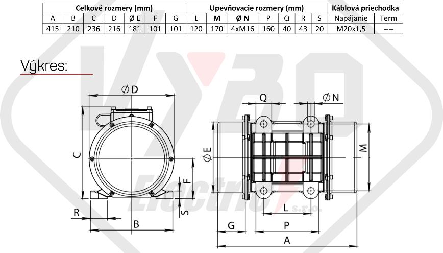 rozměrový výkres vibrační elektromotor 0,6kw BM1100-15