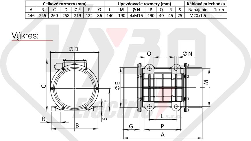 rozměrový výkres vibrační elektromotor 0,95kw BM1500-15