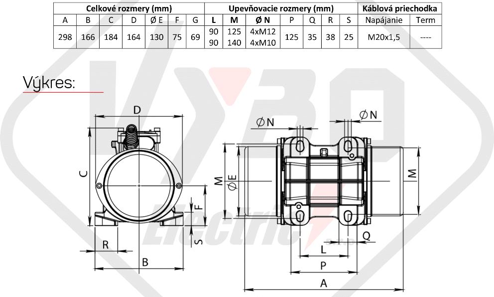 rozměrový výkres vibrační elektromotor 0,18kw BM200-15