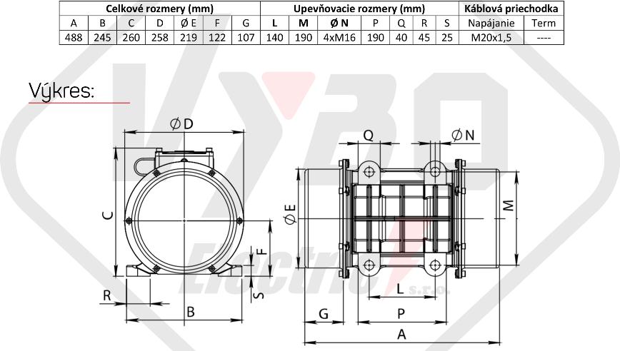 rozměrový výkres vibrační elektromotor 1,2kw BM2000-15