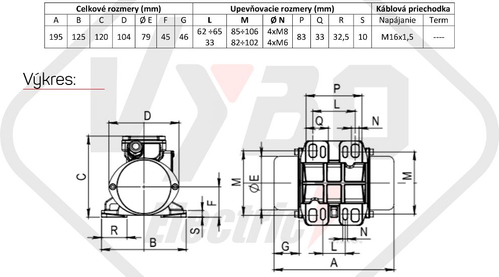 rozměrový výkres vibrační elektromotor 0,075kw BM25-15