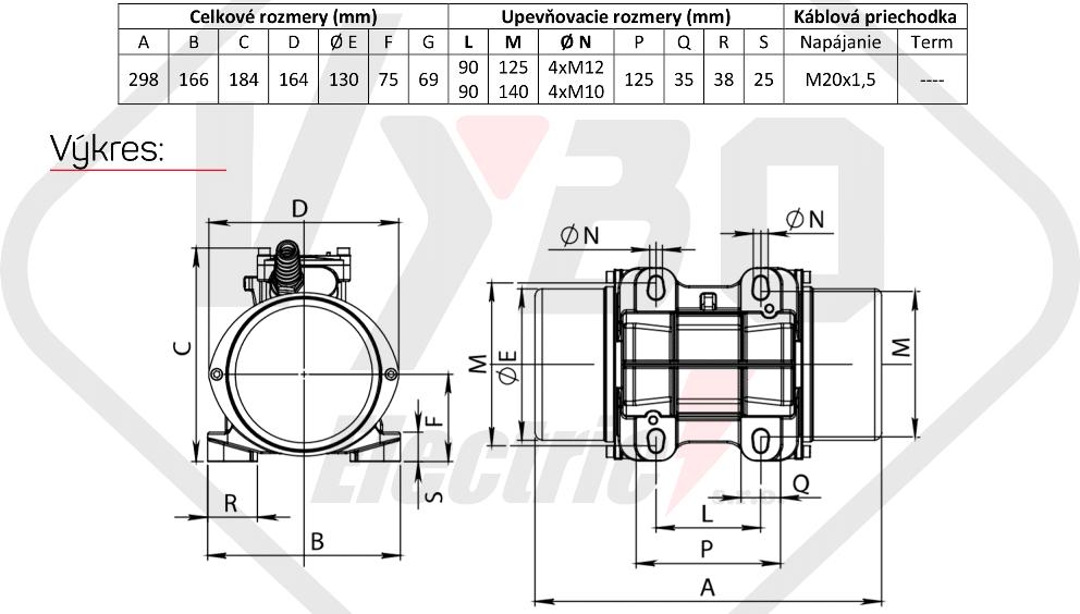 rozměrový výkres vibrační elektromotor 0,18kw BM250-15