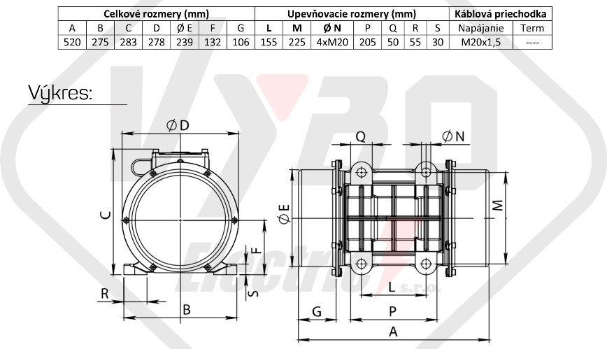 rozměrový výkres vibrační elektromotor 1,7kw BM2700-15