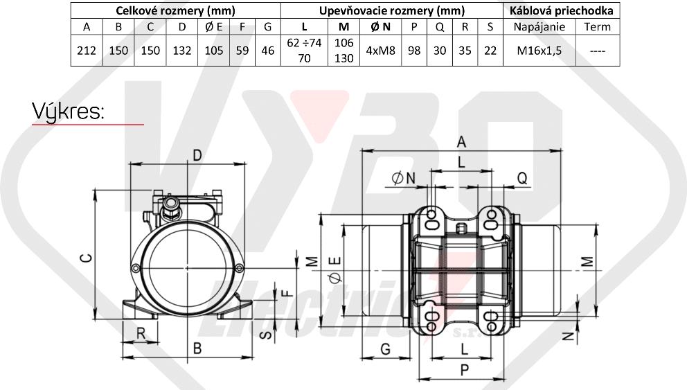 rozměrový výkres vibrační elektromotor 0,08kw BM30-15