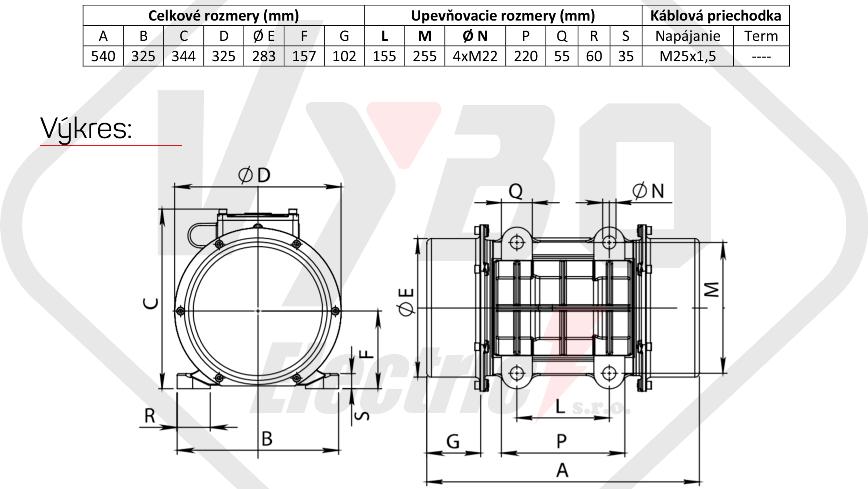 rozměrový výkres vibrační elektromotor 2,2kw BM3800-15