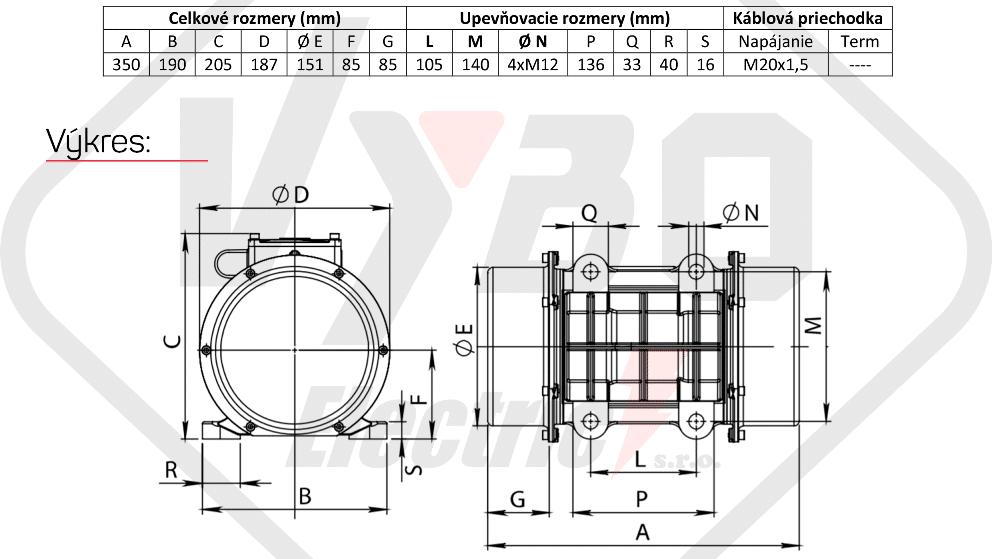 rozměrový výkres vibrační elektromotor 0,31kw BM400-15-V