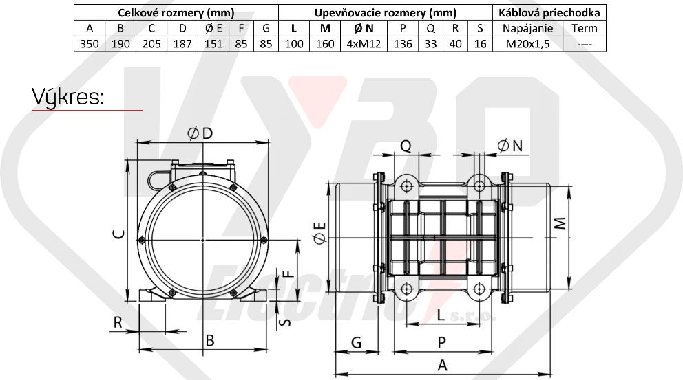 rozměrový výkres vibrační elektromotor 0,31kw BM400-15