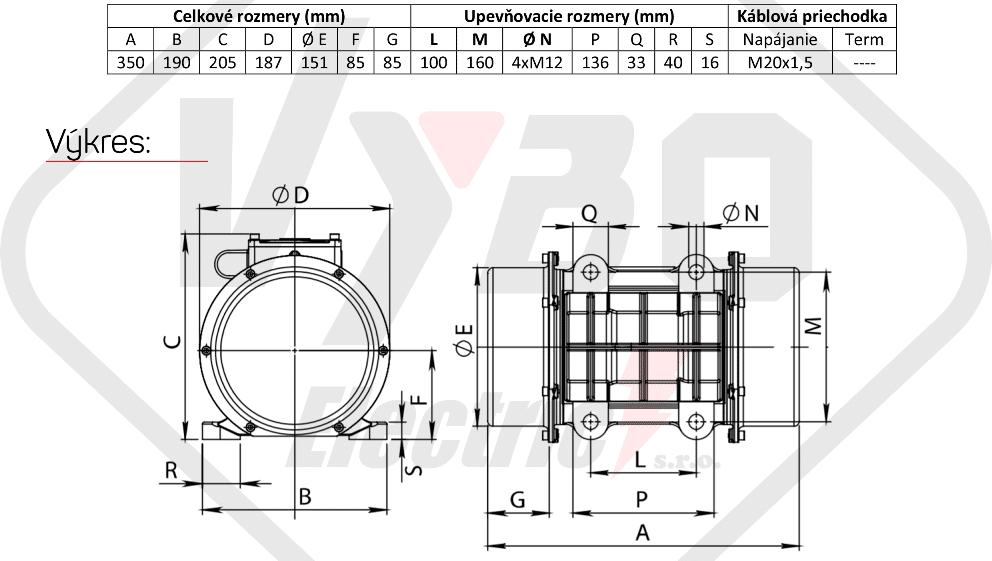rozměrový výkres vibrační elektromotor 0,34kw BM520-15-V