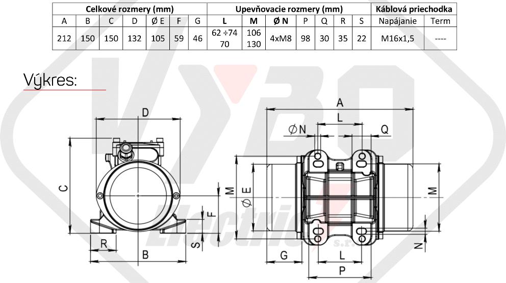 rozměrový výkres vibrační elektromotor 0,095kw BM60-15