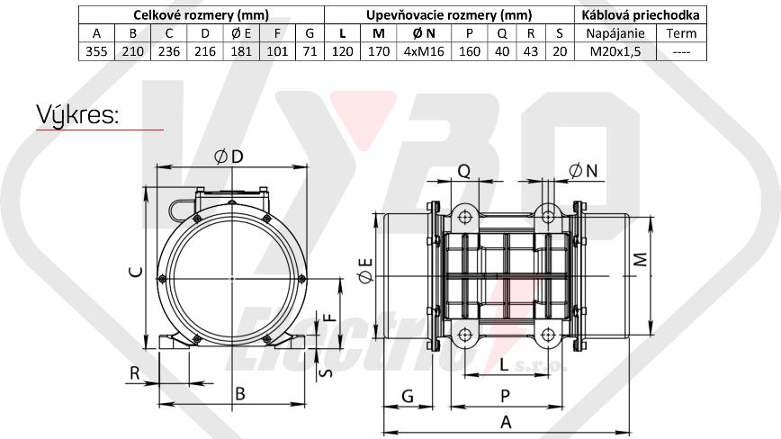 rozměrový výkres vibrační elektromotor 0,47kw BM750-15