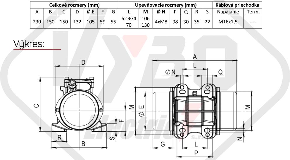 rozměrový výkres vibrační elektromotor 0,095kw BM90-15