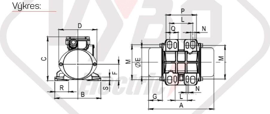 rozměrový výkres vibrační elektromotor 0,1kw BM60/3