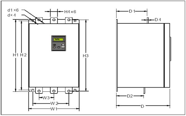rozměrový výkres Softstarter SSZ-160-3
